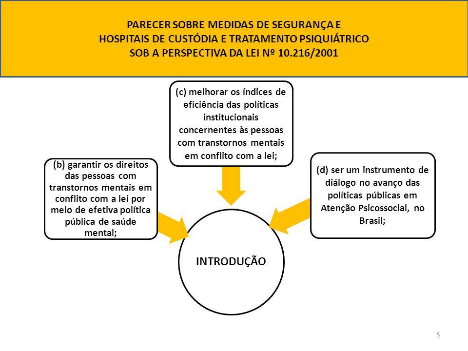 INTRODUÇÃO (b) garantir os direitos das pessoas com transtornos mentais em conflito com a lei por meio de efetiva política pública de saúde mental; (c