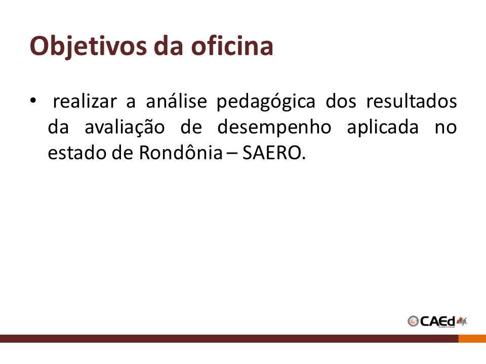 Objetivos da oficina realizar a análise pedagógica dos resultados da avaliação de desempenho aplicada no estado de Rondônia – SAERO.