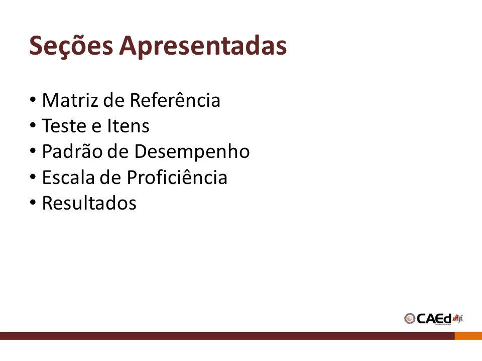 Seções Apresentadas Matriz de Referência Teste e Itens Padrão de Desempenho Escala de Proficiência Resultados