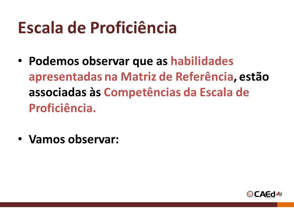 Escala de Proficiência Podemos observar que as habilidades apresentadas na Matriz de Referência, estão associadas às Competências da Escala de Profici