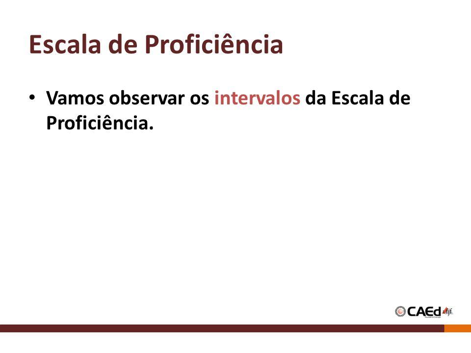 Escala de Proficiência Vamos observar os intervalos da Escala de Proficiência.