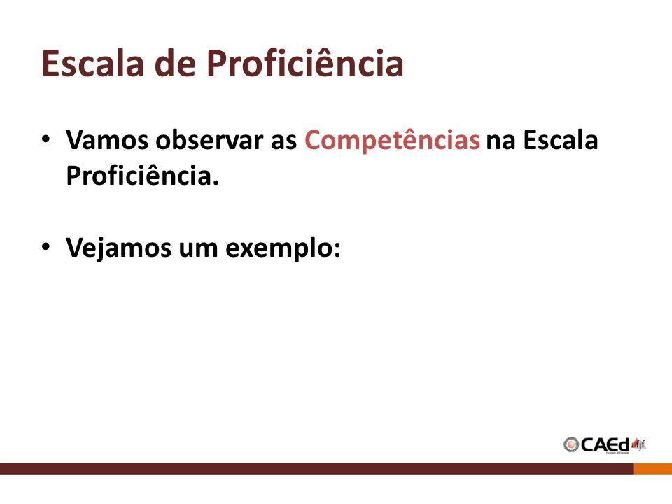 Escala de Proficiência Vamos observar as Competências na Escala Proficiência. Vejamos um exemplo: