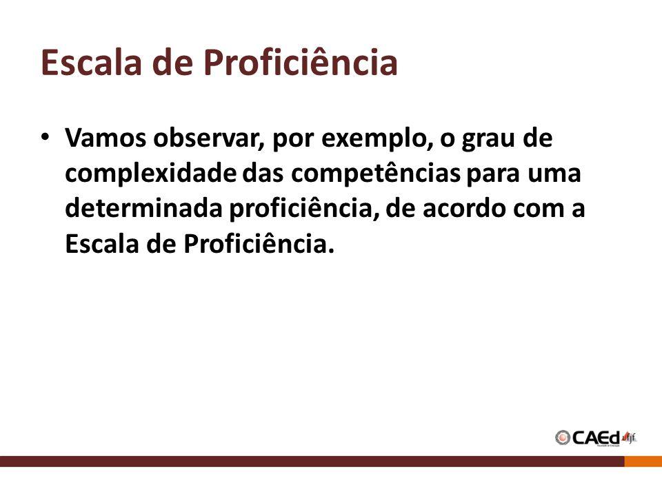 Escala de Proficiência Vamos observar, por exemplo, o grau de complexidade das competências para uma determinada proficiência, de acordo com a Escala