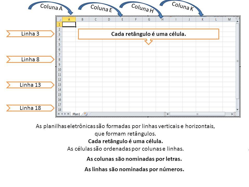 Coluna E Coluna A Coluna H Linha 3 Linha 8 Linha 13 Linha 18 Coluna K As colunas são nominadas por letras.