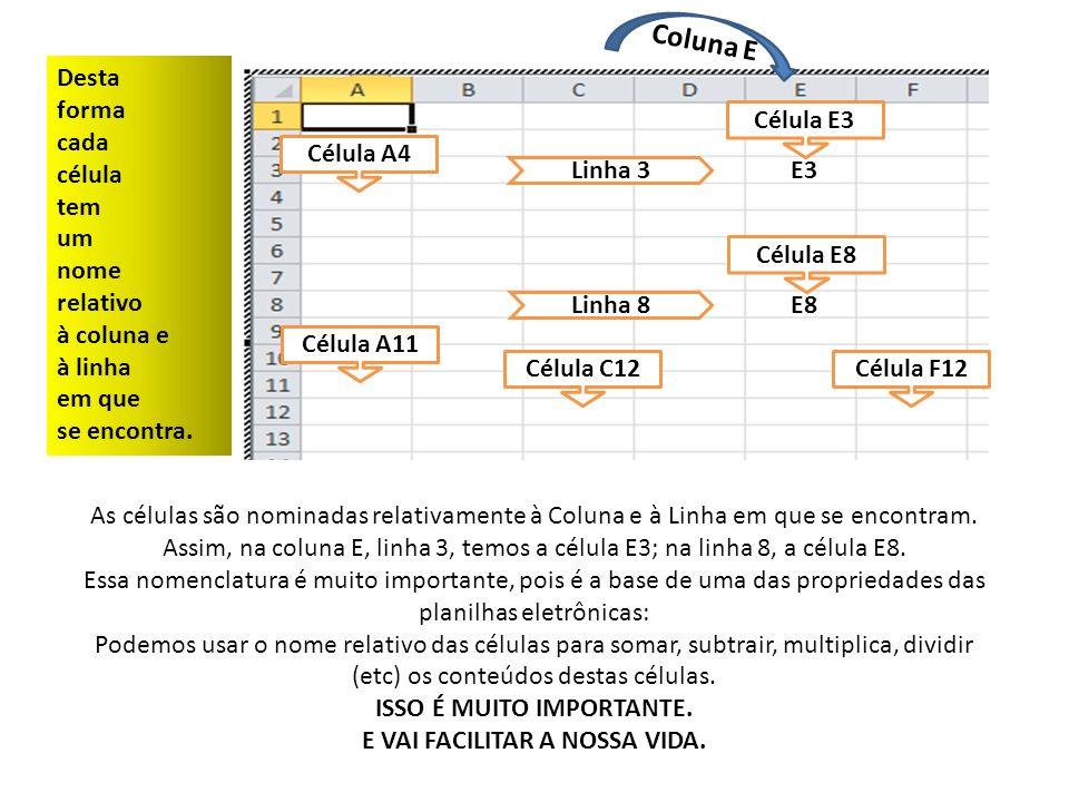 A3 Em A3, 10 Vou Digitar: Em A4, 20 Em A5, 30 Em A6, 40 Em A7, 50 10 20 30 40 50 Em A8, digitarei: =A3+A4+A5+A6+A7 O QUE VAI APARECER NA CÉLULA A8 É O RESULTADO DA CONTA, OU SEJA, 150 Já a Barra de Fórmulas mostra o conteúdo da célula, ou seja, =A3+A4+A5+A6+A7 150 A4A5A6A7A8 Barra de Fórmula Exibe o nome da célula clicada =A3+A4+A5+A6+A7 Célula A8 Barra de Fórmula Célula A8 Barra de Fórmula