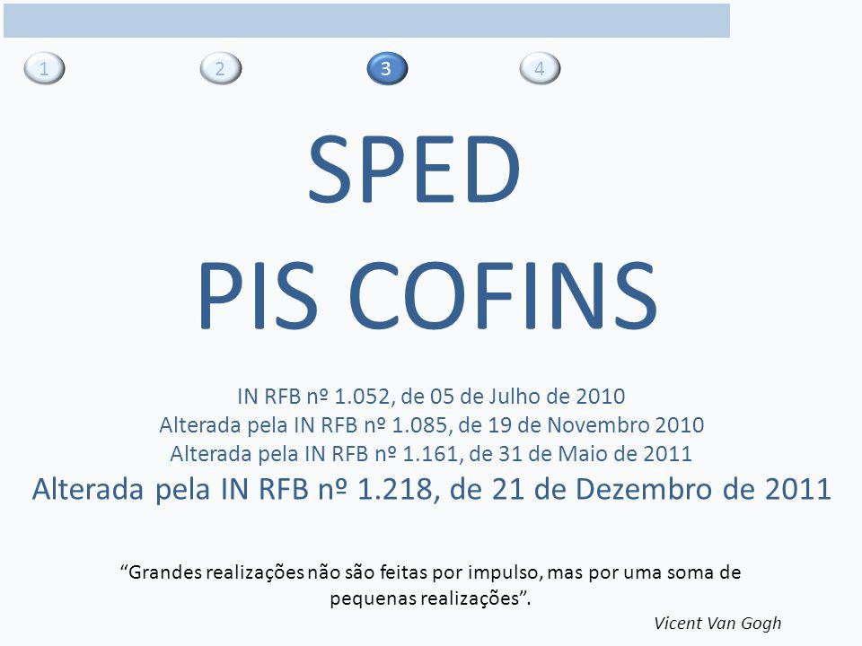 31 4 SPED PIS COFINS Grandes realizações não são feitas por impulso, mas por uma soma de pequenas realizações.