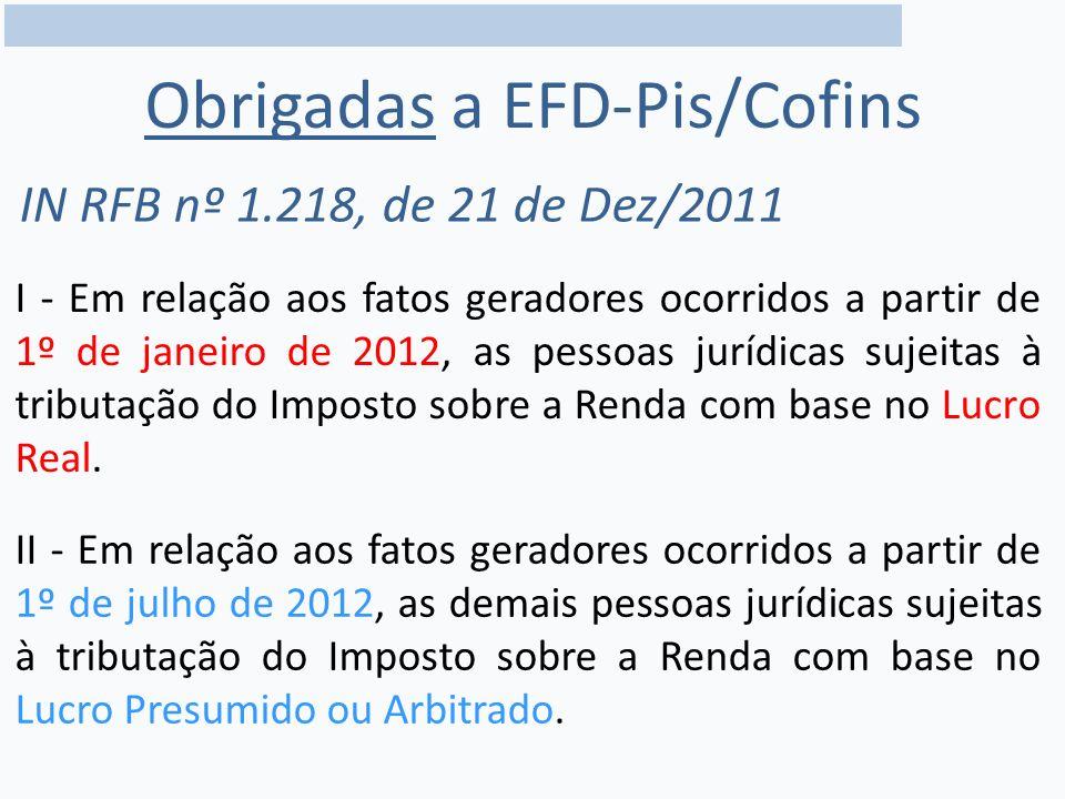 Obrigadas a EFD-Pis/Cofins IN RFB nº 1.218, de 21 de Dez/2011 I - Em relação aos fatos geradores ocorridos a partir de 1º de janeiro de 2012, as pessoas jurídicas sujeitas à tributação do Imposto sobre a Renda com base no Lucro Real.