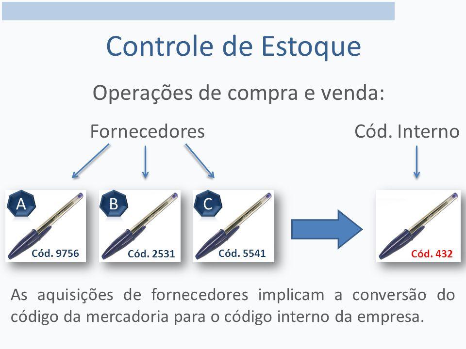 Controle de Estoque Operações de compra e venda: FornecedoresCód.