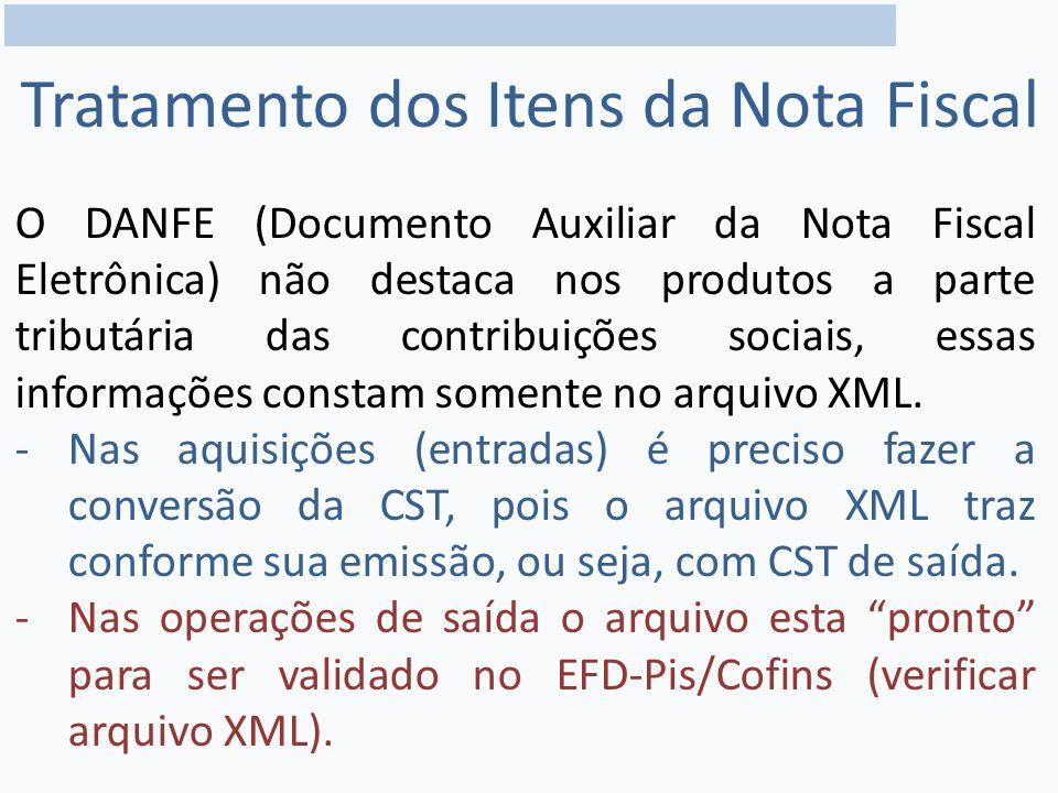 O DANFE (Documento Auxiliar da Nota Fiscal Eletrônica) não destaca nos produtos a parte tributária das contribuições sociais, essas informações constam somente no arquivo XML.
