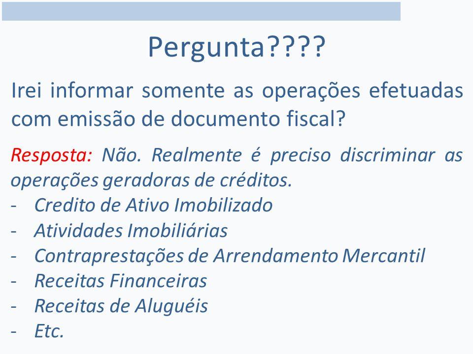Irei informar somente as operações efetuadas com emissão de documento fiscal.