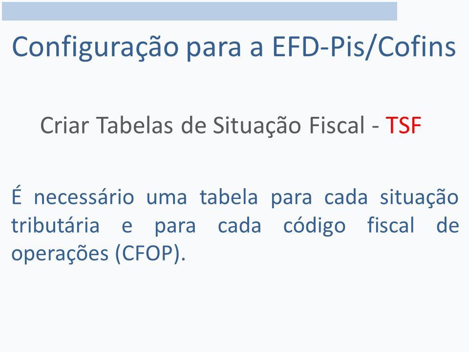 Configuração para a EFD-Pis/Cofins Criar Tabelas de Situação Fiscal - TSF É necessário uma tabela para cada situação tributária e para cada código fiscal de operações (CFOP).