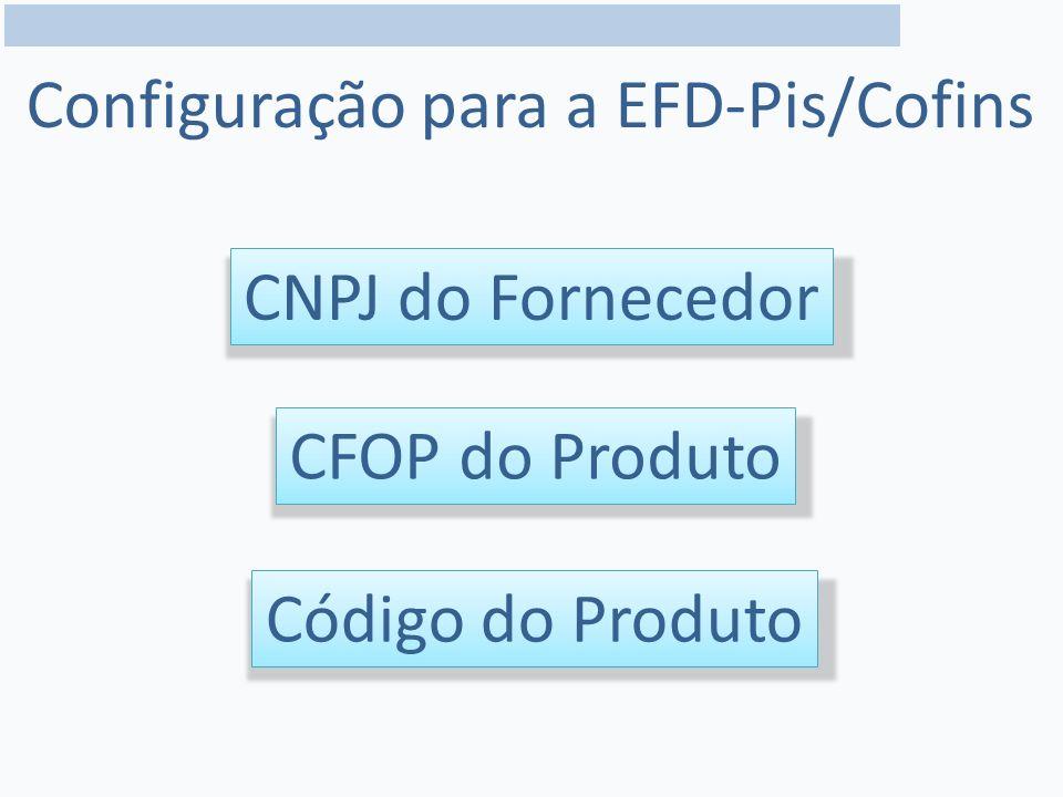 Configuração para a EFD-Pis/Cofins CNPJ do Fornecedor CFOP do Produto Código do Produto