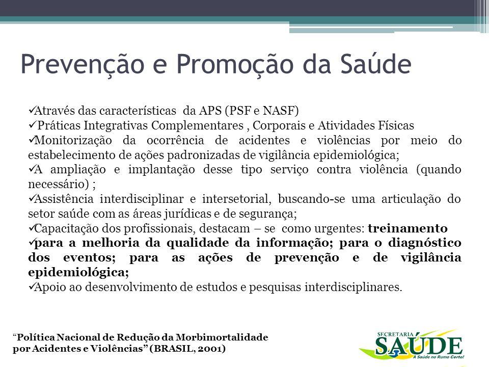 Política Nacional de Redução da Morbimortalidade por Acidentes e Violências (BRASIL, 2001) Através das características da APS (PSF e NASF) Práticas In