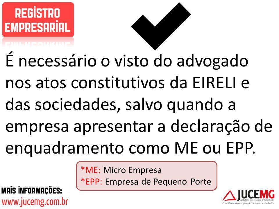 É necessário o visto do advogado nos atos constitutivos da EIRELI e das sociedades, salvo quando a empresa apresentar a declaração de enquadramento co
