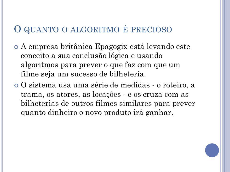 O QUANTO O ALGORITMO É PRECIOSO A empresa britânica Epagogix está levando este conceito a sua conclusão lógica e usando algoritmos para prever o que faz com que um filme seja um sucesso de bilheteria.
