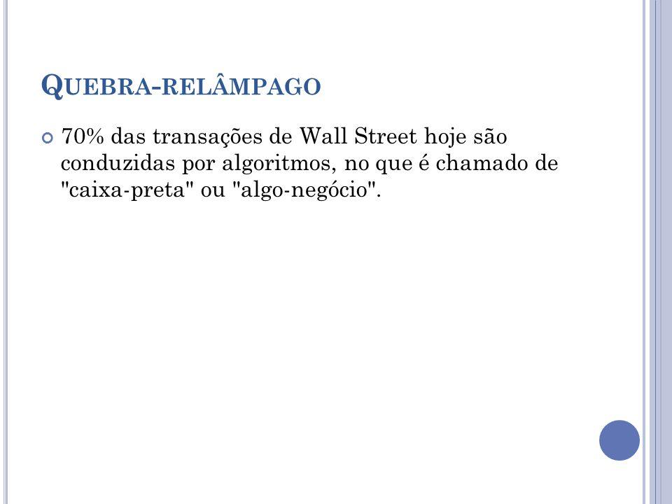 Q UEBRA - RELÂMPAGO 70% das transações de Wall Street hoje são conduzidas por algoritmos, no que é chamado de