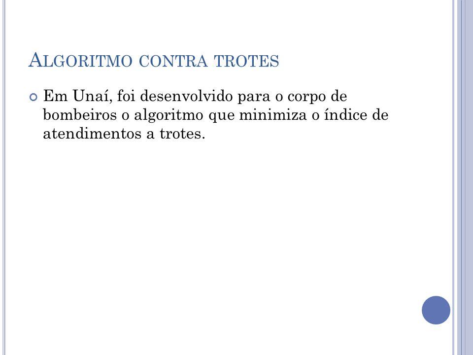 A LGORITMO CONTRA TROTES Em Unaí, foi desenvolvido para o corpo de bombeiros o algoritmo que minimiza o índice de atendimentos a trotes.
