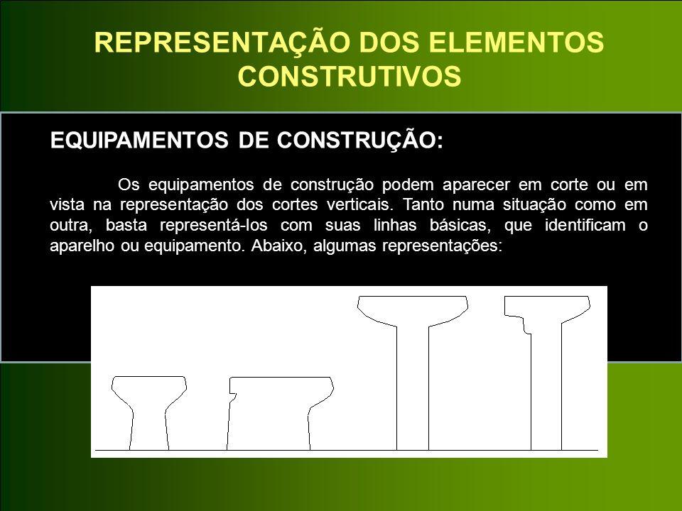 REPRESENTAÇÃO DOS ELEMENTOS CONSTRUTIVOS EQUIPAMENTOS DE CONSTRUÇÃO: Os equipamentos de construção podem aparecer em corte ou em vista na representaçã