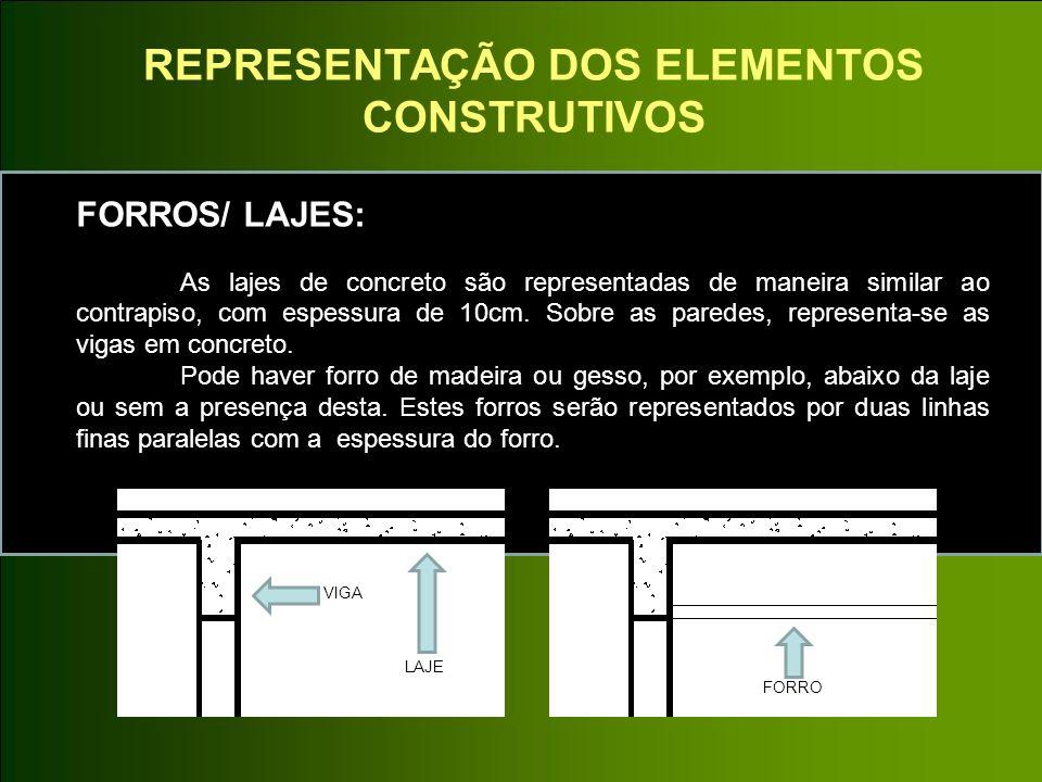 REPRESENTAÇÃO DOS ELEMENTOS CONSTRUTIVOS FORROS/ LAJES: As lajes de concreto são representadas de maneira similar ao contrapiso, com espessura de 10cm