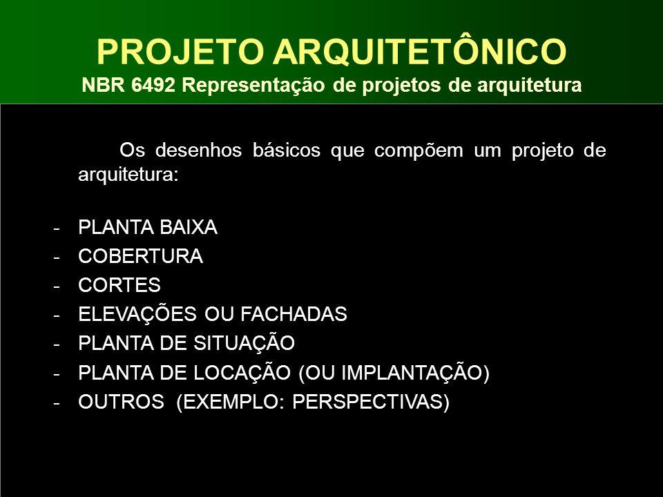 PROJETO ARQUITETÔNICO NBR 6492 Representação de projetos de arquitetura Os desenhos básicos que compõem um projeto de arquitetura: -PLANTA BAIXA -COBE