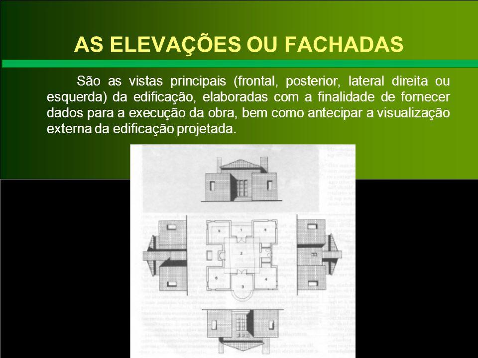 AS ELEVAÇÕES OU FACHADAS São as vistas principais (frontal, posterior, lateral direita ou esquerda) da edificação, elaboradas com a finalidade de forn