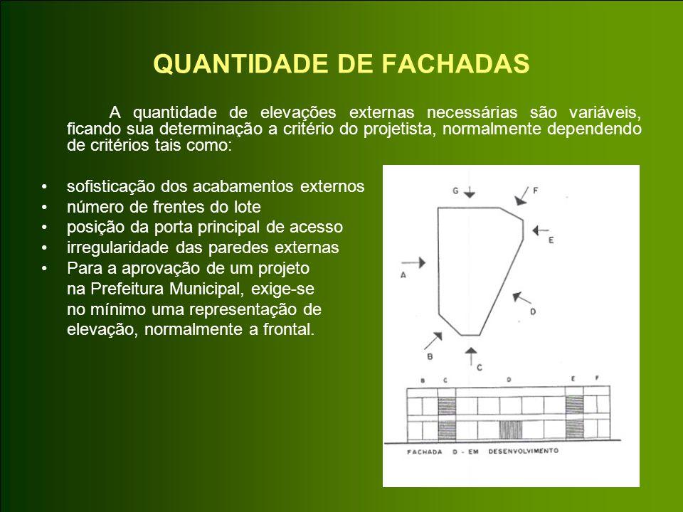 QUANTIDADE DE FACHADAS A quantidade de elevações externas necessárias são variáveis, ficando sua determinação a critério do projetista, normalmente de