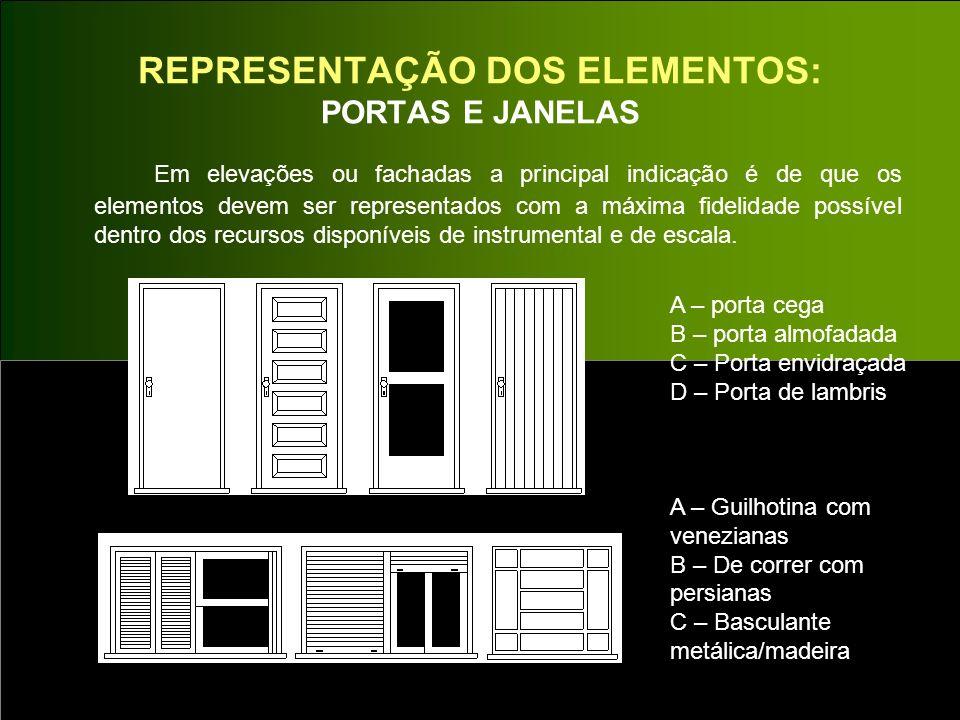 REPRESENTAÇÃO DOS ELEMENTOS: PORTAS E JANELAS Em elevações ou fachadas a principal indicação é de que os elementos devem ser representados com a máxim