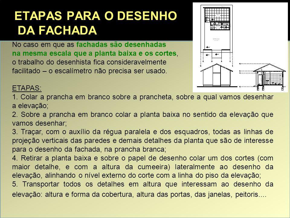 ETAPAS PARA O DESENHO DA FACHADA No caso em que as fachadas são desenhadas na mesma escala que a planta baixa e os cortes, o trabalho do desenhista fi