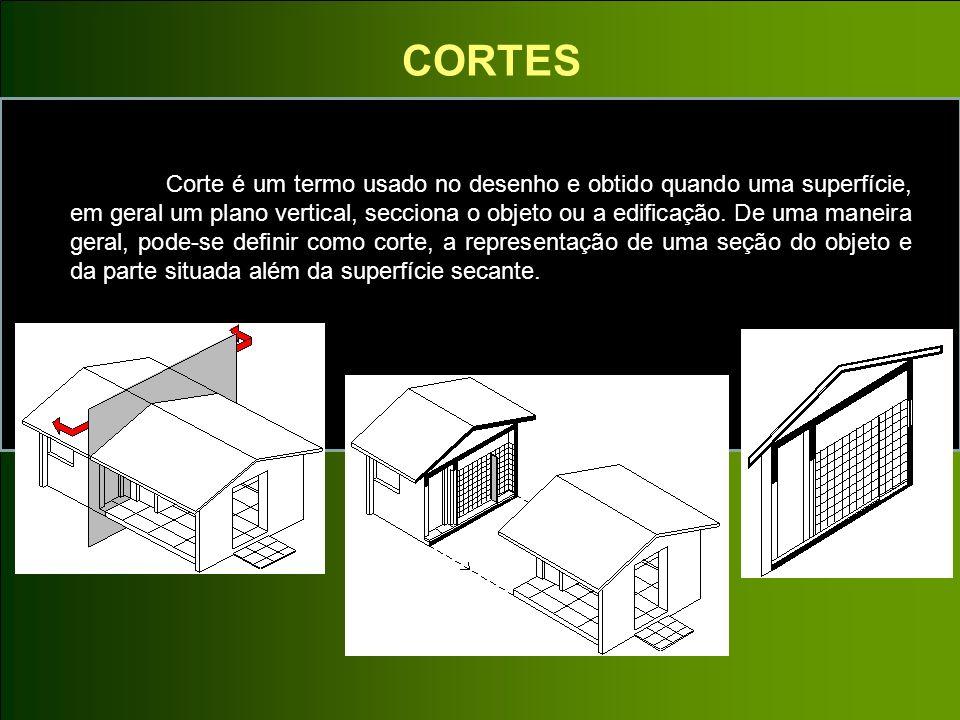 CORTES Corte é um termo usado no desenho e obtido quando uma superfície, em geral um plano vertical, secciona o objeto ou a edificação. De uma maneira