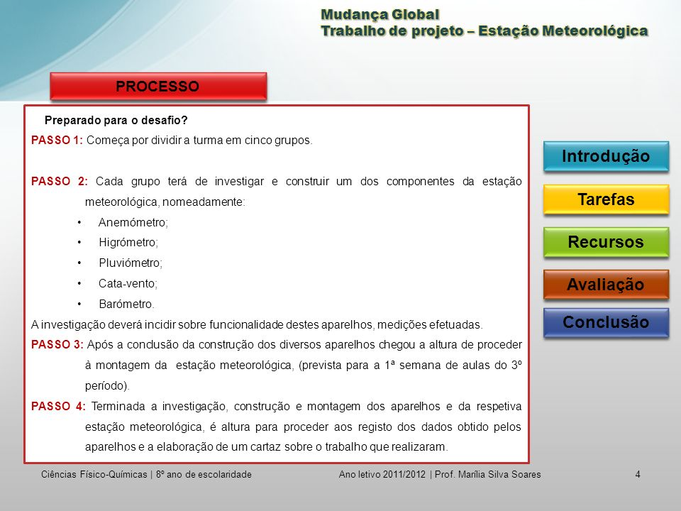 Ciências Físico-Químicas | 8º ano de escolaridade4 Ano letivo 2011/2012 | Prof.