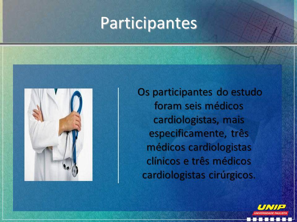 Participantes Os participantes do estudo foram seis médicos cardiologistas, mais especificamente, três médicos cardiologistas clínicos e três médicos