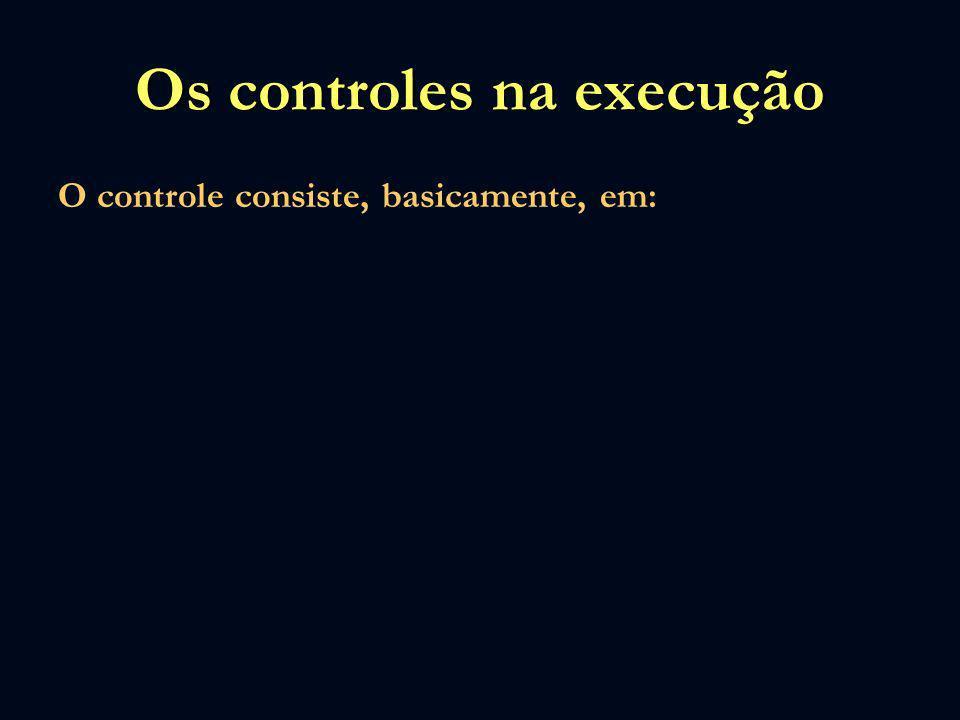 Os controles na execução O controle consiste, basicamente, em: