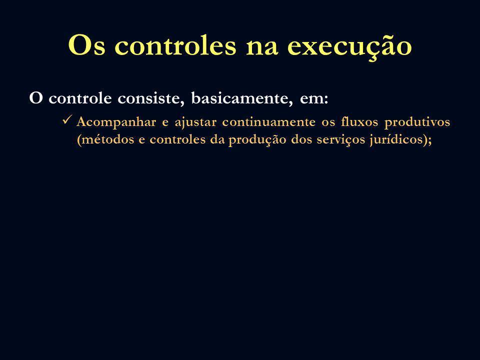 Os controles na execução O controle consiste, basicamente, em: Acompanhar e ajustar continuamente os fluxos produtivos (métodos e controles da produçã