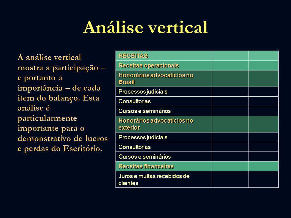 Análise vertical A análise vertical mostra a participação – e portanto a importância – de cada item do balanço. Esta análise é particularmente importa
