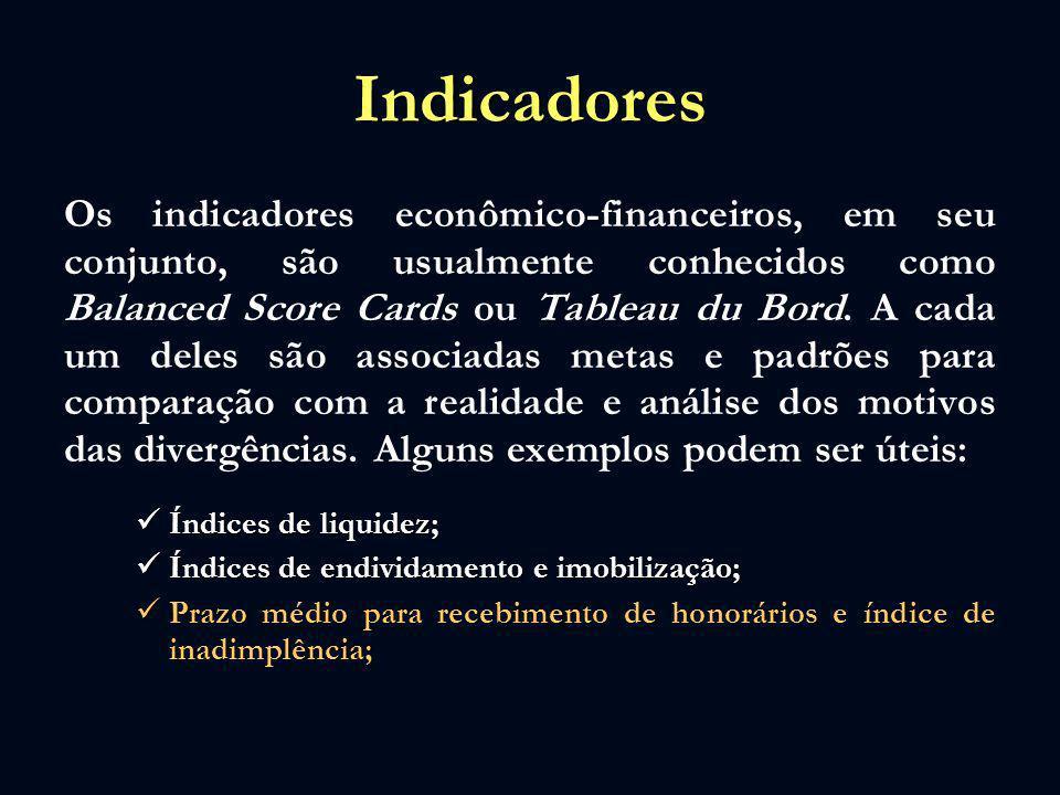 Indicadores Os indicadores econômico-financeiros, em seu conjunto, são usualmente conhecidos como Balanced Score Cards ou Tableau du Bord. A cada um d