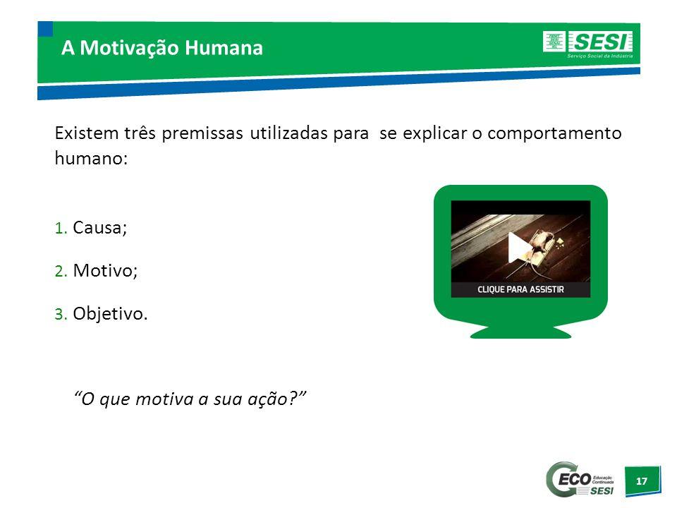 17 A Motivação Humana Existem três premissas utilizadas para se explicar o comportamento humano: 1. Causa; 2. Motivo; 3. Objetivo. O que motiva a sua