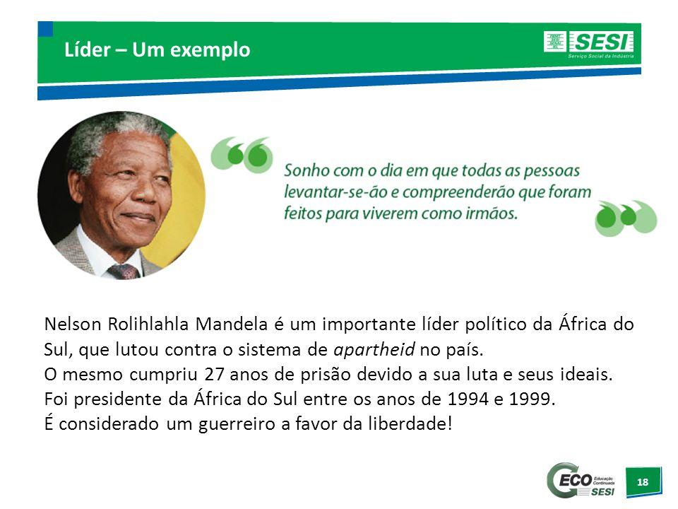 18 Líder – Um exemplo Nelson Rolihlahla Mandela é um importante líder político da África do Sul, que lutou contra o sistema de apartheid no país. O me
