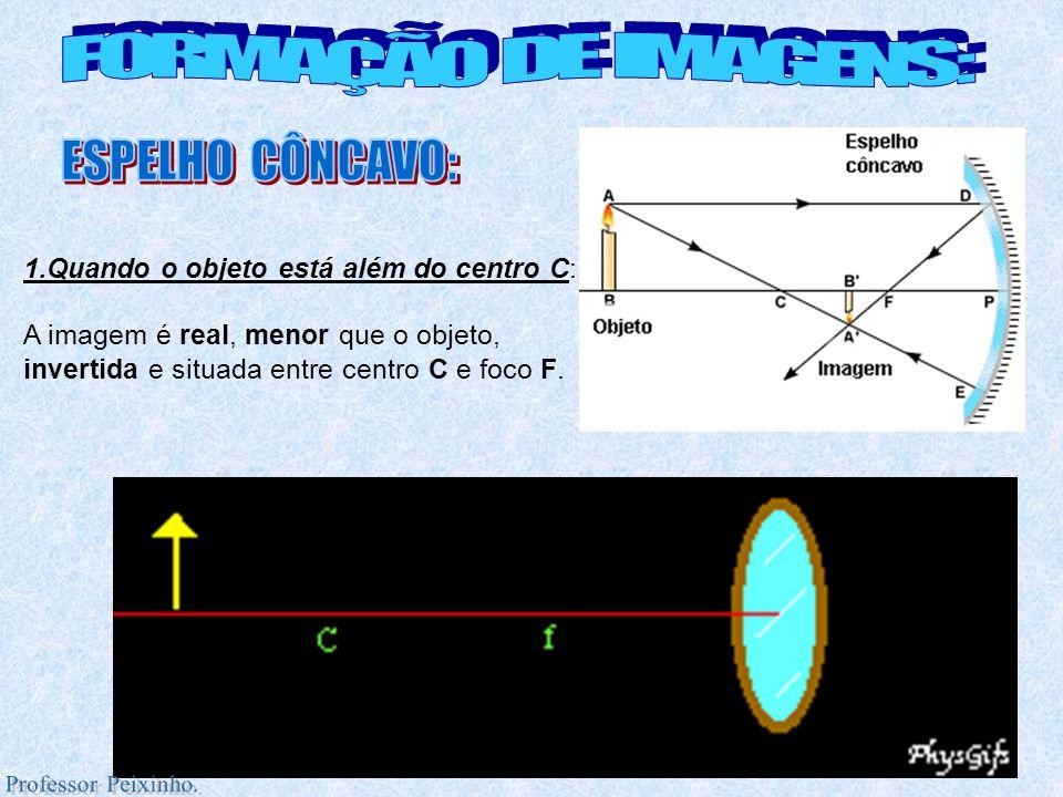 2.Objeto sobre o centro C: A imagem é real, do mesmo tamanho que o objeto, invertida e situada sobre o centro C.