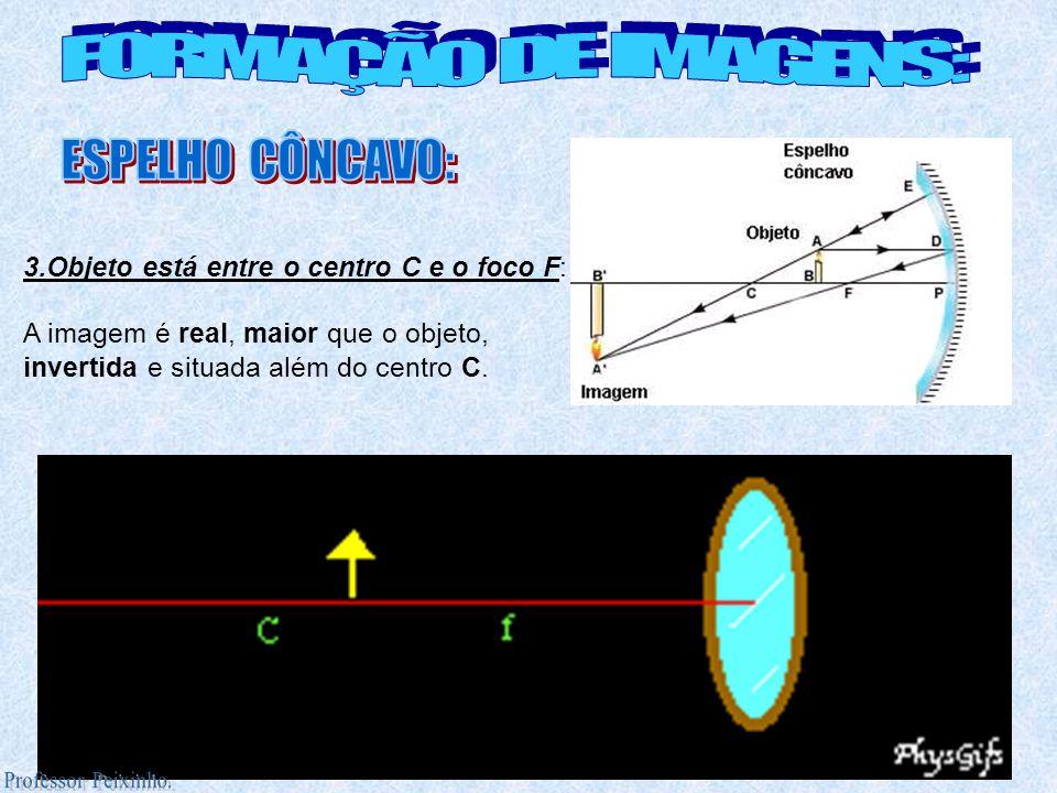 3.Objeto está entre o centro C e o foco F: A imagem é real, maior que o objeto, invertida e situada além do centro C.