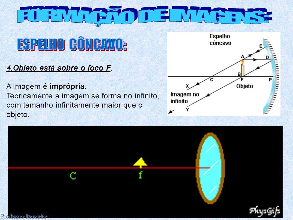5.Objeto está entre o foco F e o vértice: A imagem é virtual, maior que o objeto, direita e situada atrás do espelho.