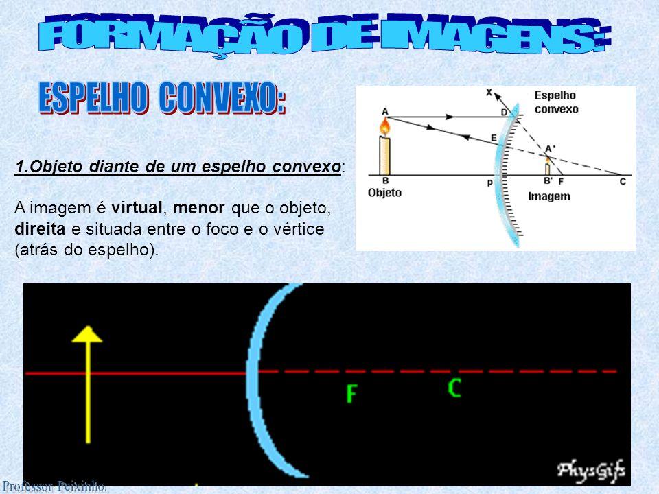 1.Objeto diante de um espelho convexo: A imagem é virtual, menor que o objeto, direita e situada entre o foco e o vértice (atrás do espelho).