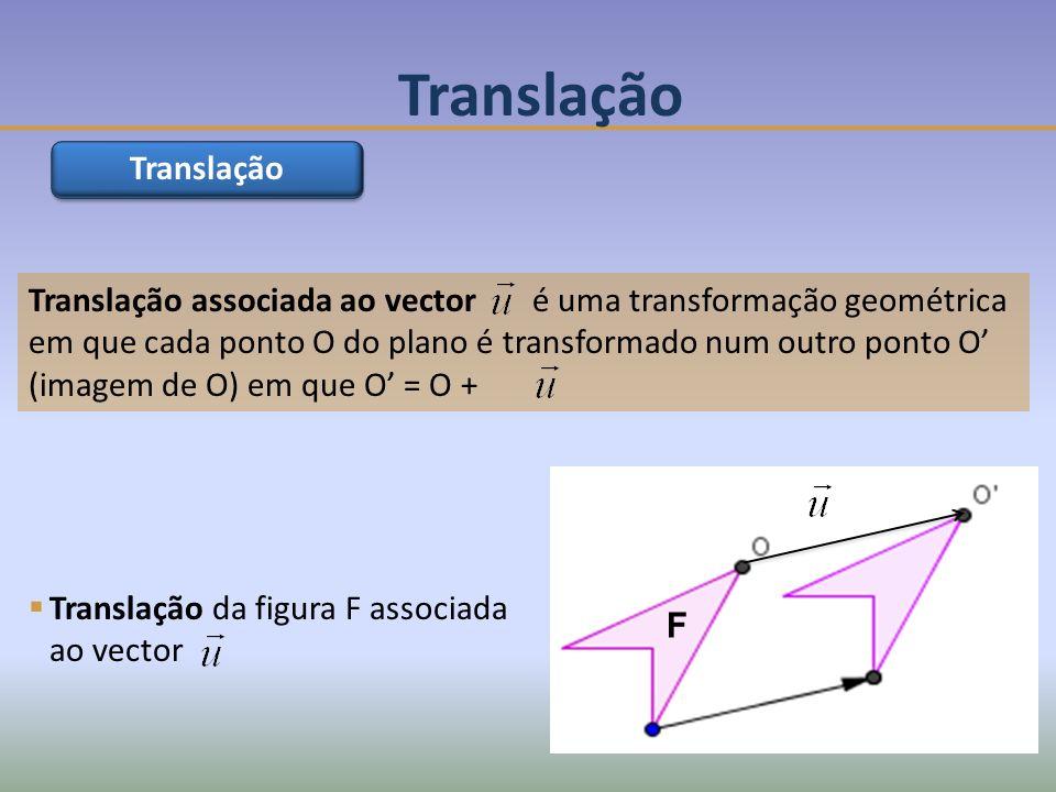 Translação associada ao vector é uma transformação geométrica em que cada ponto O do plano é transformado num outro ponto O (imagem de O) em que O = O + Translação F Translação da figura F associada ao vector Translação