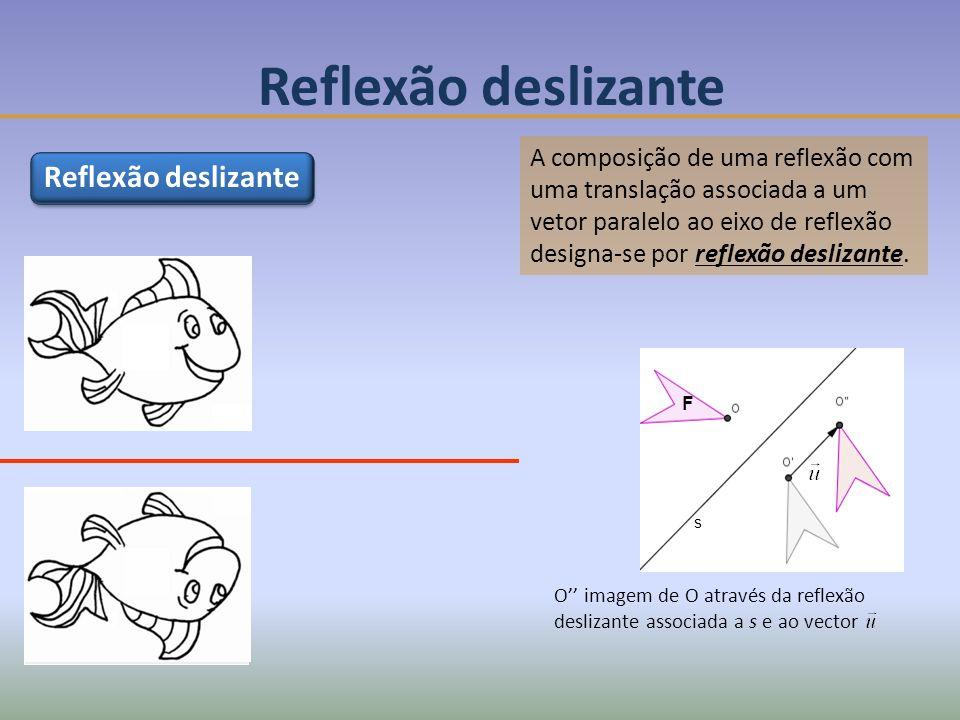 Reflexão deslizante A composição de uma reflexão com uma translação associada a um vetor paralelo ao eixo de reflexão designa-se por reflexão deslizante.