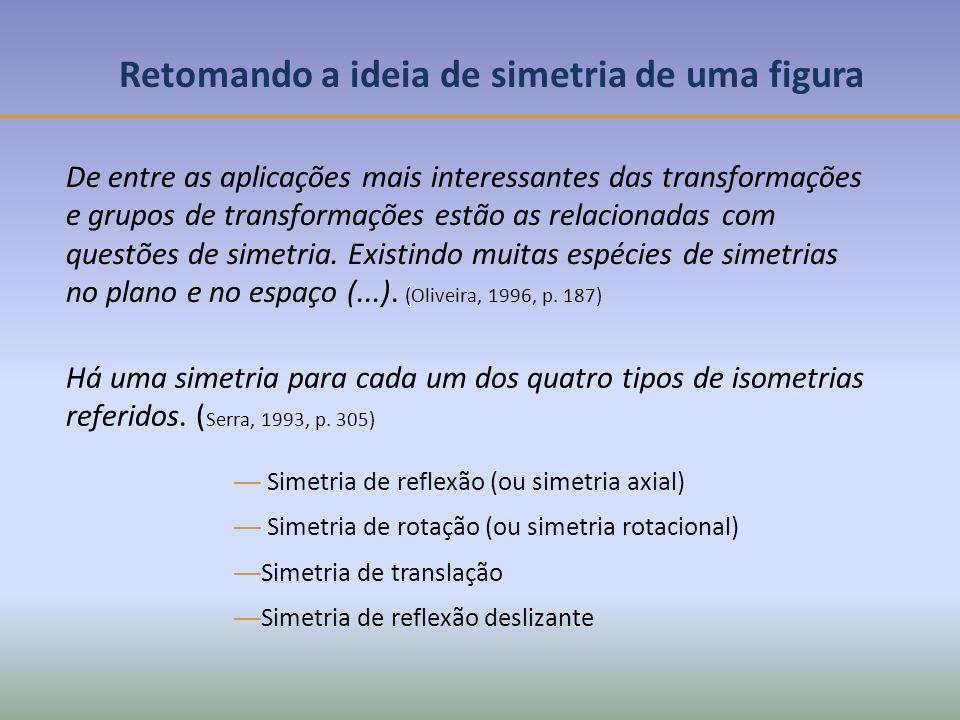 Retomando a ideia de simetria de uma figura De entre as aplicações mais interessantes das transformações e grupos de transformações estão as relacionadas com questões de simetria.