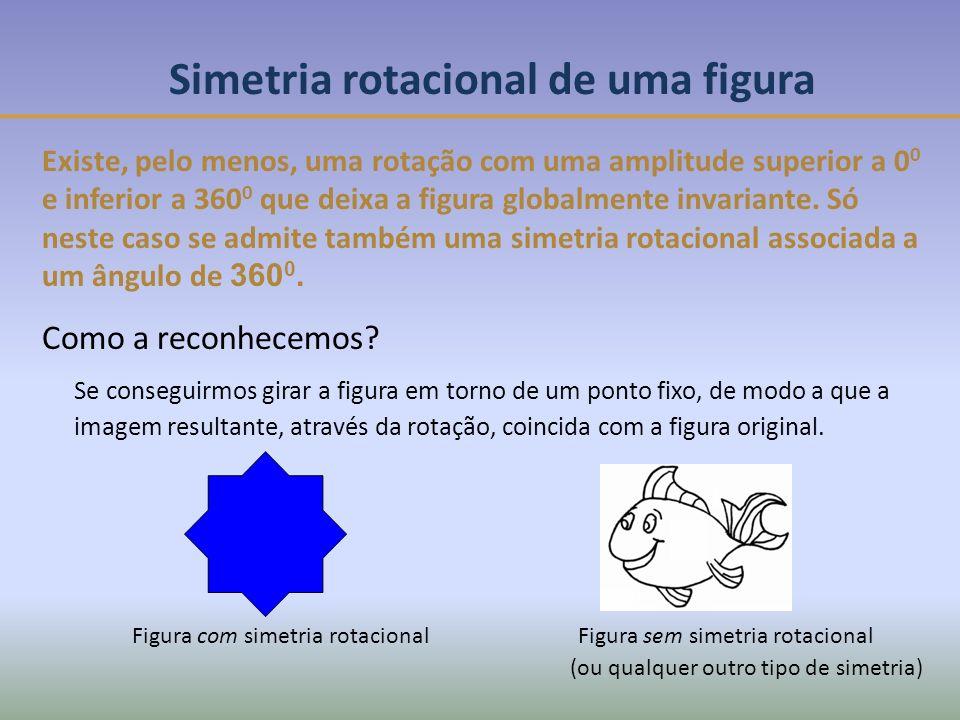 Figura com simetria rotacionalFigura sem simetria rotacional Simetria rotacional de uma figura Existe, pelo menos, uma rotação com uma amplitude superior a 0 0 e inferior a 360 0 que deixa a figura globalmente invariante.