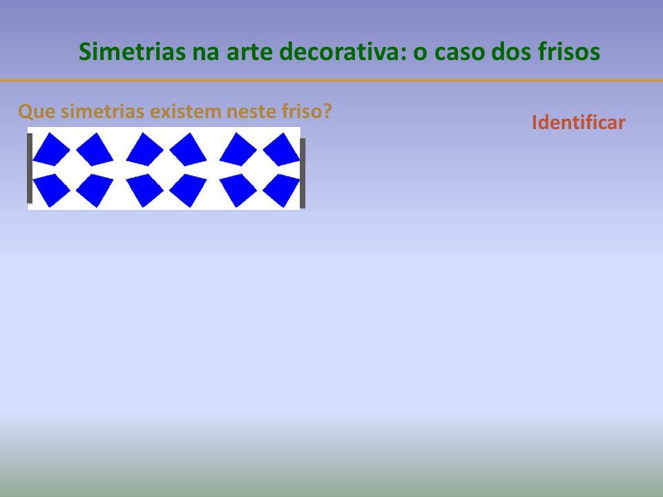 Que simetrias existem neste friso? Simetrias na arte decorativa: o caso dos frisos Identificar