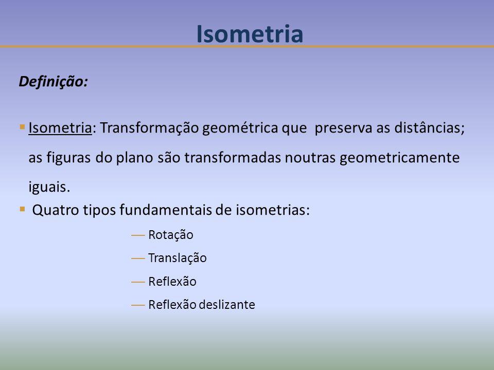 Isometria Definição: Isometria: Transformação geométrica que preserva as distâncias; as figuras do plano são transformadas noutras geometricamente iguais.