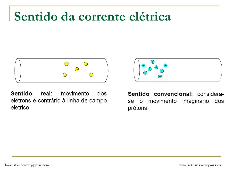 www.jackfisica.wordpress.comtakamatsu.ricardo@gmail.com Sentido da corrente elétrica Sentido real: movimento dos elétrons é contrário à linha de campo