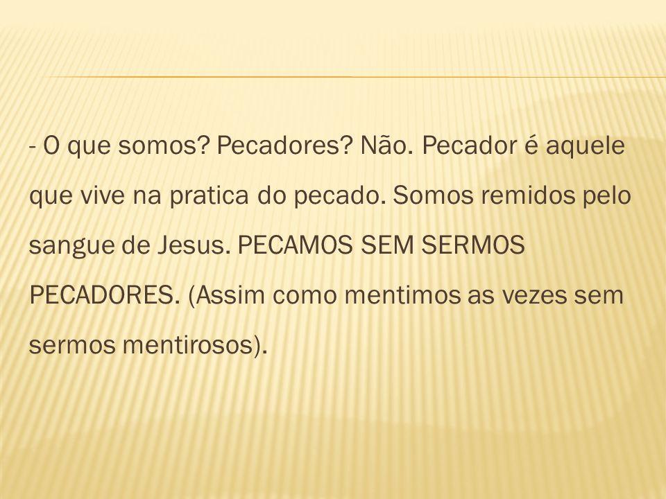 - O que somos.Pecadores. Não. Pecador é aquele que vive na pratica do pecado.