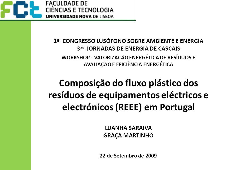 Composição do fluxo plástico dos resíduos de equipamentos eléctricos e electrónicos (REEE) em Portugal 22 de Setembro de 2009 LUANHA SARAIVA GRAÇA MARTINHO 1º CONGRESSO LUSÓFONO SOBRE AMBIENTE E ENERGIA 3 as JORNADAS DE ENERGIA DE CASCAIS WORKSHOP - VALORIZAÇÃO ENERGÉTICA DE RESÍDUOS E AVALIAÇÃO E EFICIÊNCIA ENERGÉTICA